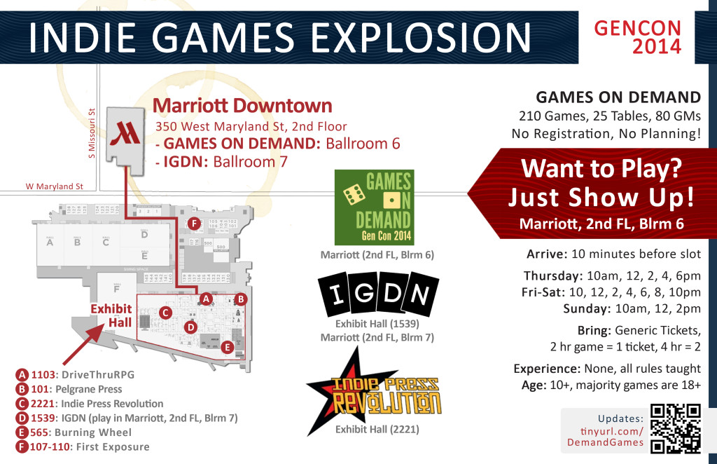 A Map of the best places to find indie RPGs at Gen Con 2014