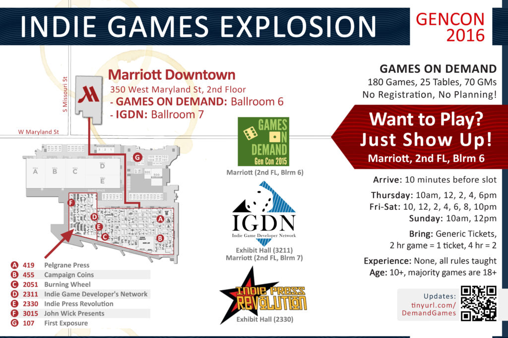 Indie Games Explosion Map for Gen Con 2016