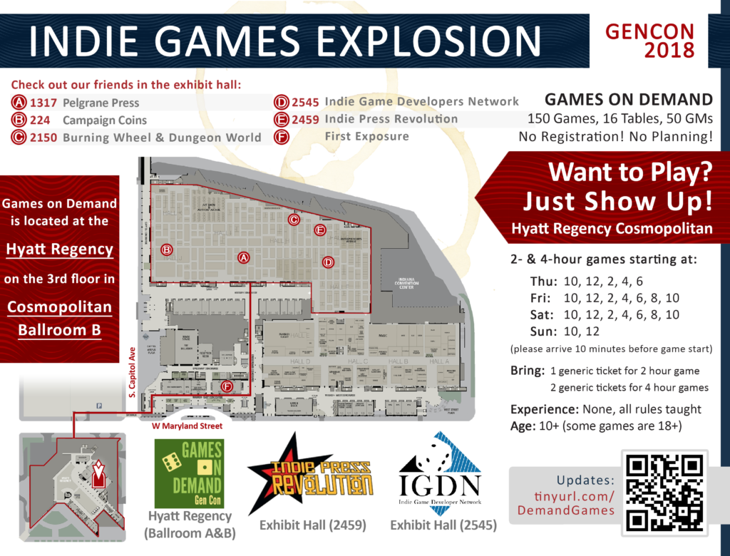 Indie Games Explosion Map for Gen Con 2018