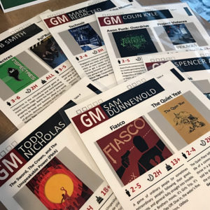 A Snapshot of Game Menus from the 2018 Gen Con Games on Demand