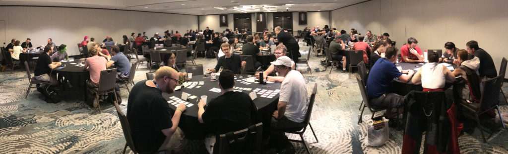 The Games on Demand room full of players at Gen Con 2018