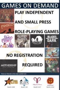 Indie Games on Demand handout for Gen Con 2019