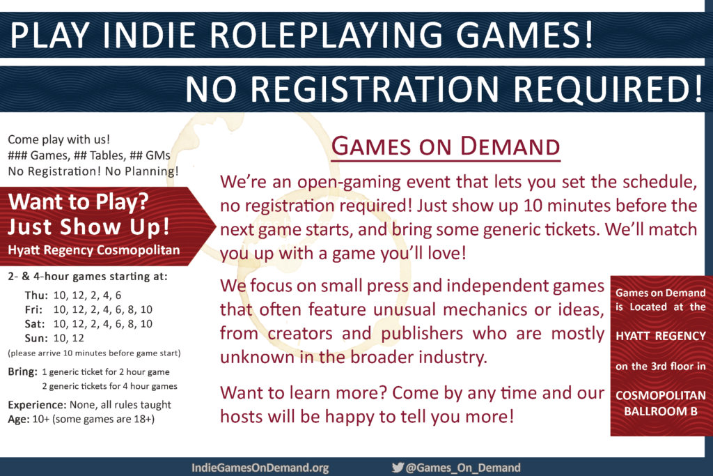 Gen Con 2019 Games on Demand Flyer